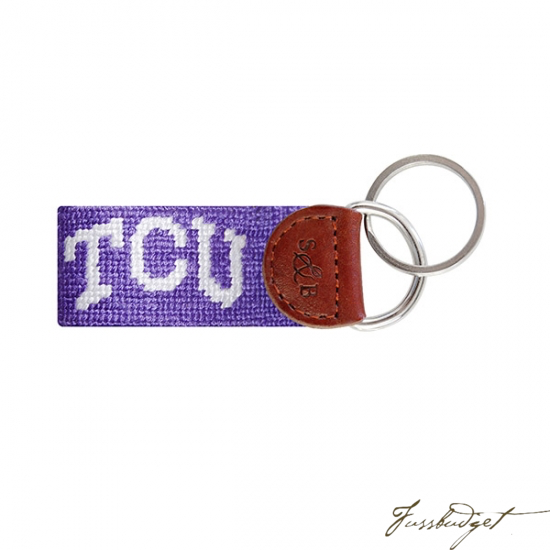 TCU (Purple) Needlepoint Key Fob-Fussbudget.com