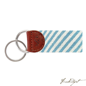 Blue Seersucker Needlepoint Key Fob-Fussbudget.com