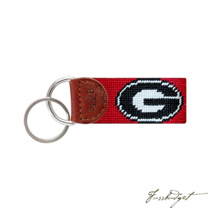 Georgia (Red) Needlepoint Key Fob-Fussbudget.com