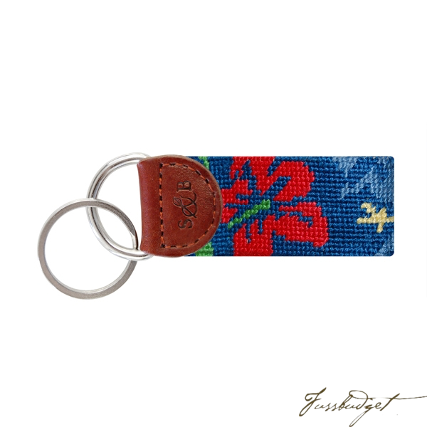 Hibiscus (Multi) Needlepoint Key Fob-Fussbudget.com