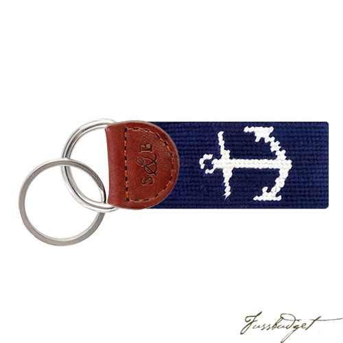 Anchor (Dark Navy) Needlepoint Key Fob-Fussbudget.com