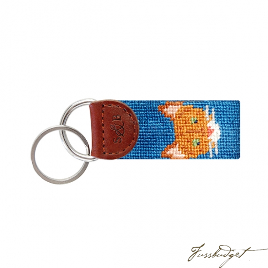 Orange Tabby Cat Needlepoint Key Fob-Fussbudget.com