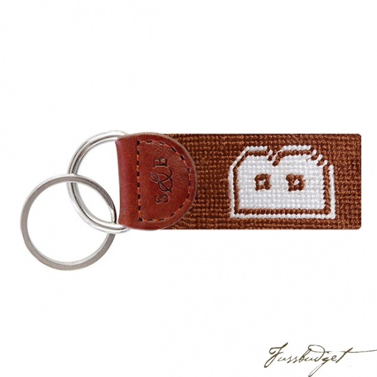 Brown Needlepoint Key Fob-Fussbudget.com
