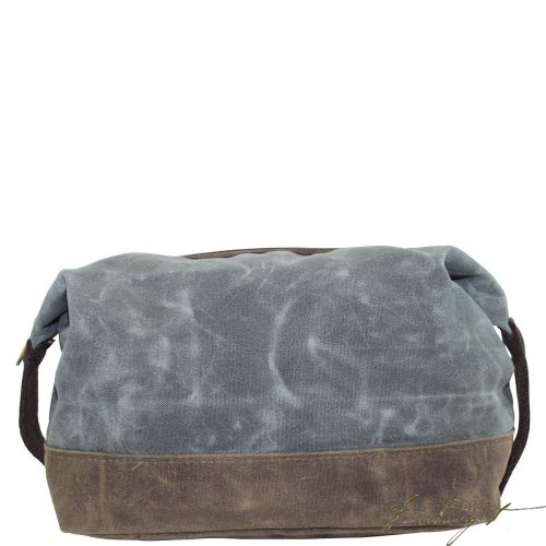 Monogrammed Waxed Top Zip Dopp Kit Olive - Look Below for Links to Fonts & Colors-Fussbudget.com