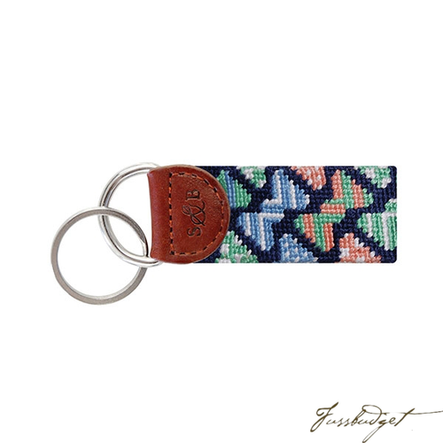 Bow Tie Pattern Needlepoint Key Fob-Fussbudget.com