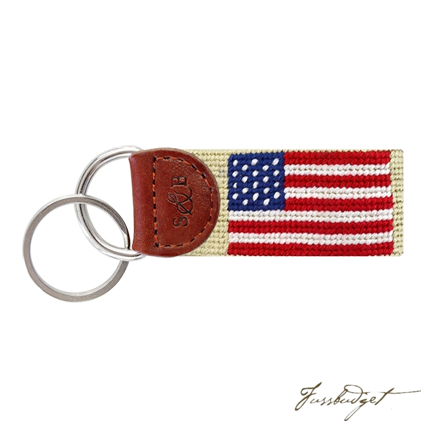 American Flag (Light Khaki) Needlepoint Key Fob-Fussbudget.com