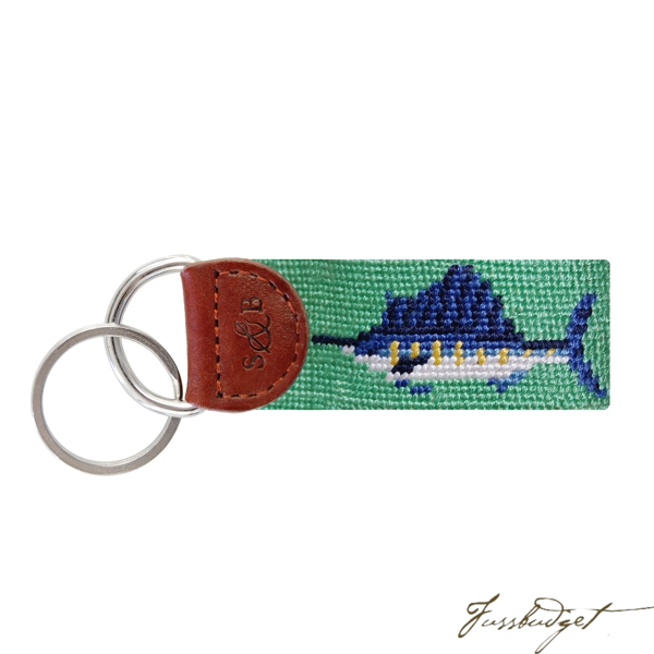 Billfish (Mint) Needlepoint Key Fob-Fussbudget.com