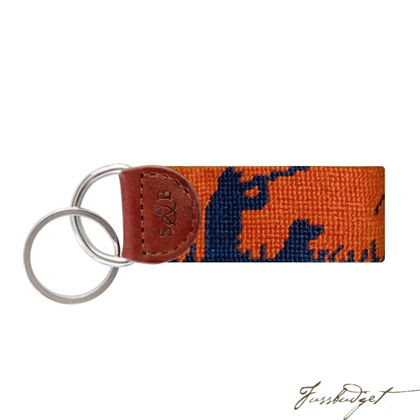 Bird Hunter Needlepoint Key Fob-Fussbudget.com