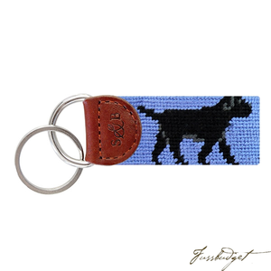 Black Lab Needlepoint Key Fob-Fussbudget.com