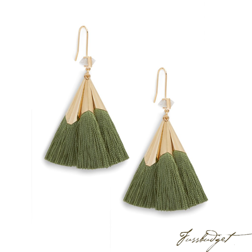 SONIA TASSEL EARRINGS | OLIVE
