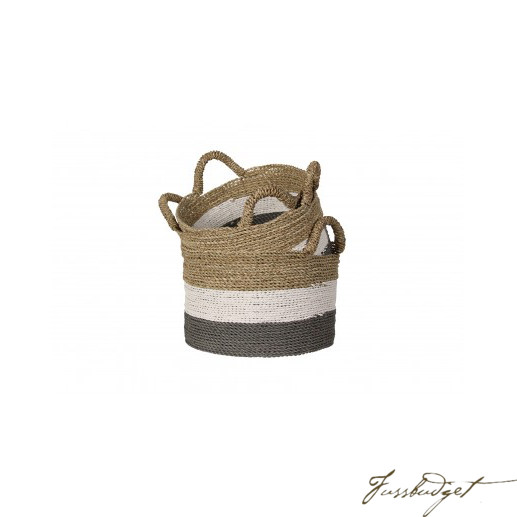 SEAGRASS BELLY BASKET W/HANDLE, TRI COLOR - SET OF 3