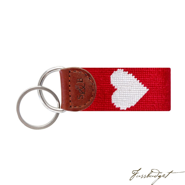 Heart Needlepoint Key Fob-Fussbudget.com