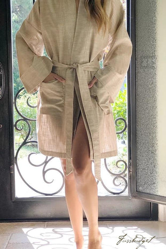 LUXE LINEN SHORTY ROBE