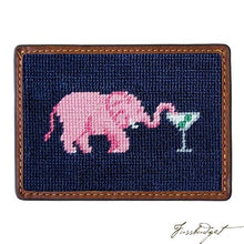 Load image into Gallery viewer, Elephant Martini Needlepoint Card Wallet