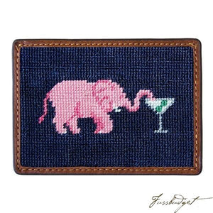 Elephant Martini Needlepoint Card Wallet