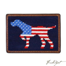 Load image into Gallery viewer, Patriotic Dog on Point Needlepoint Card Wallet