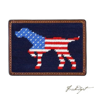 Patriotic Dog on Point Needlepoint Card Wallet