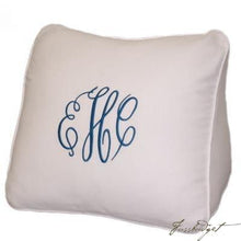 Load image into Gallery viewer, Monogrammed Ecru Wedge Pique Pillow-Fussbudget.com