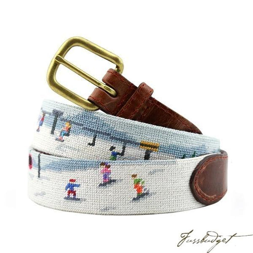 Ski Scene Needlepoint Belt
