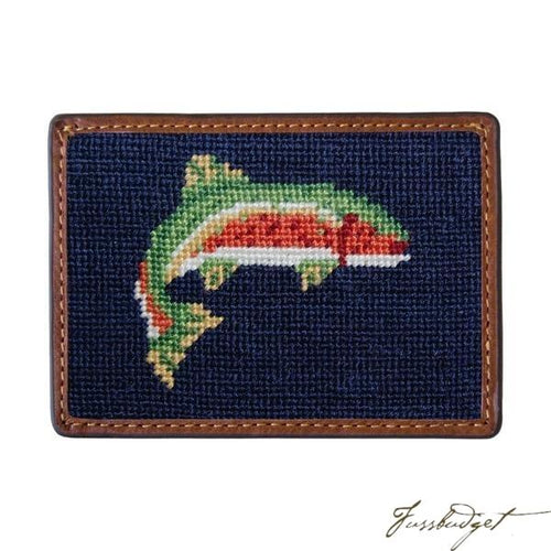 Trout Needlepoint Card Wallet