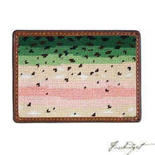 Load image into Gallery viewer, Rainbow Trout Skin Needlepoint Card Wallet