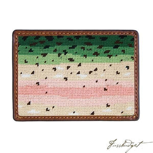 Rainbow Trout Skin Needlepoint Card Wallet