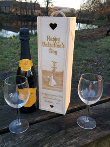Custom Photo Engraved Single Bottle Gift Box
