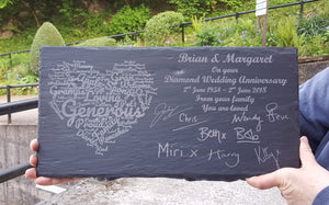 Custom Engraved Slate Celebration Plaque