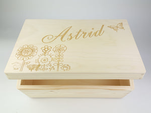 Custom Personalised Natural Wood Memory Box