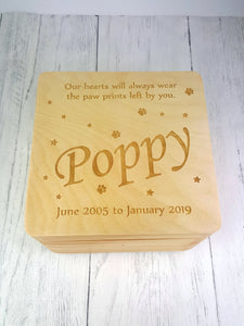 Personalised Pet Memorial Box | Pet Remembrance Sympathy Gift