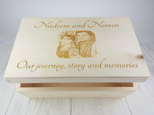 Personalised Wood Keepsake Box | Photo Engraved Memory Box