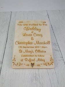 Custom Wood Wedding Invitations