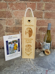 Custom Photo Engraved Anniversary Single Bottle Gift Box