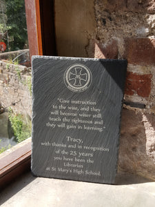 Custom Engraved Natural Slate Plaque