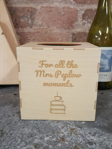 Personalised Wooden Tissue Box Cover