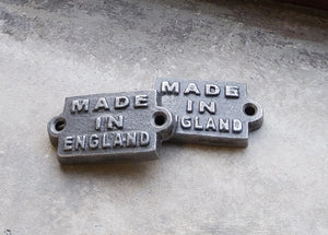 Made in England Cast Iron Plaque