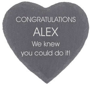 Congratulations Personalised Heart Shaped Gift Coaster