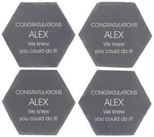 Congratulations Personalised Octagon Shaped Gift Coaster