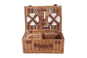 Classic Autumn Tartan 4 Person Picnic Basket with Cold Bag
