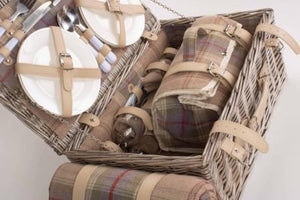 Lavender Tartan 4 Person British Picnic Basket