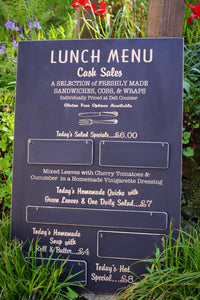 Custom Wood Painted and Laser Engraved Menu Black Board