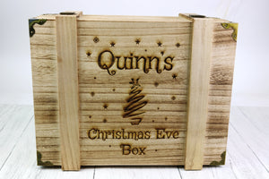Extra Deep Wood Christmas Eve Box with Tree Design