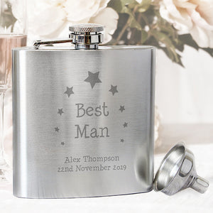 Personalised Best Man or Usher Hip Flask