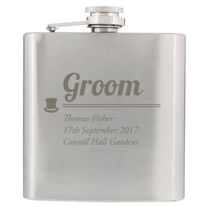 Traditional Top Hat Groom Hip Flask