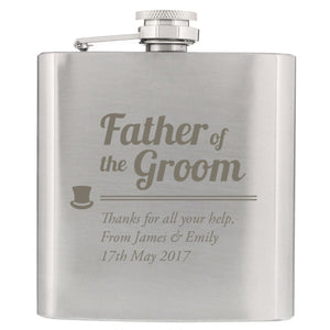 Traditional Top Hat Father of the Groom Hip Flask