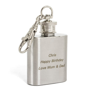 Personalised Stainless Steel Keyring Flask
