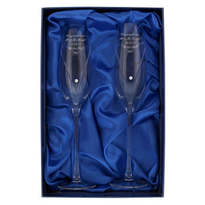 Personalised Hand Blown Heart Toasting Flutes with Swarovski Crystals