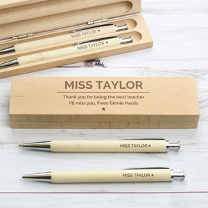 Personalised Classic Wooden Pen & Pencil Box Set