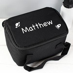 Black Lunch Bag with White Rocket