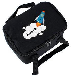 Personalised Rocket Black Insulated Lunch Bag